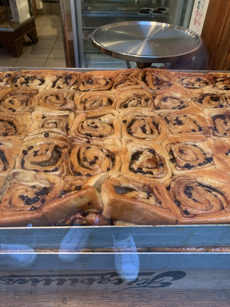 Sticky Chelsea buns at Fitzbillies, Cambridge