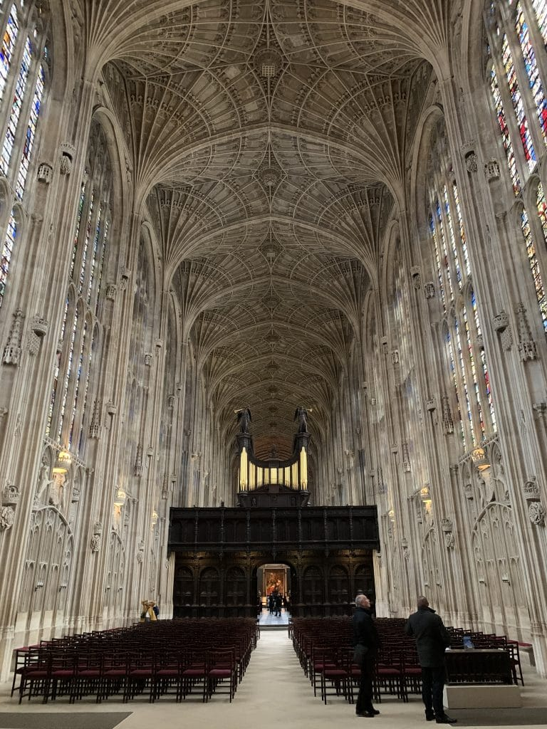 The largest fan-vaulted ceiling in the world, at King's College Chapel, Cambridge